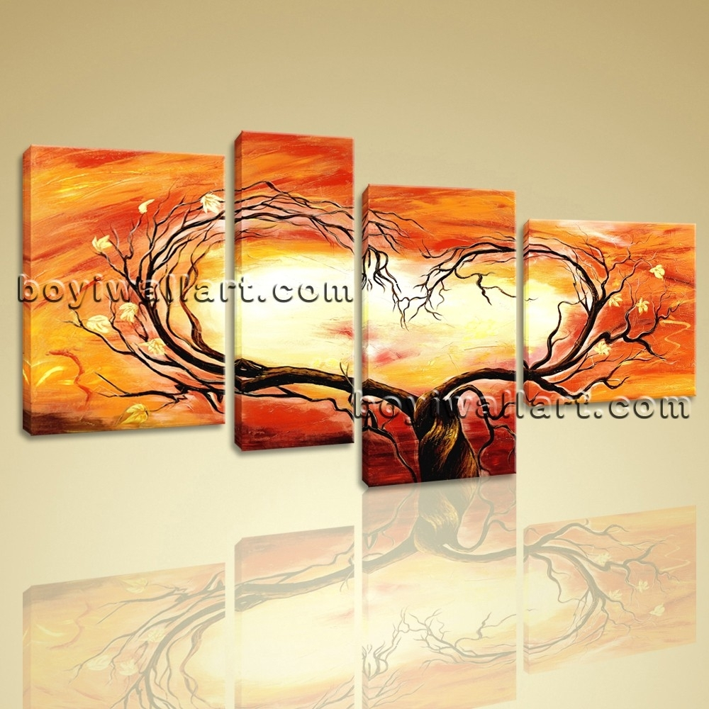 Canvas Prints Love Tree Picture Heart Abstract Floral Paintings 4 Within Most Current Hearts Canvas Wall Art (View 6 of 15)