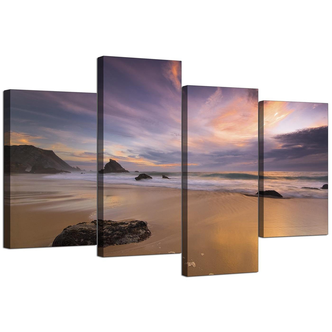 Canvas Prints Of A Beach Sunset For Your Kitchen – 4 Panel Intended For Most Current Photography Canvas Wall Art (View 2 of 15)