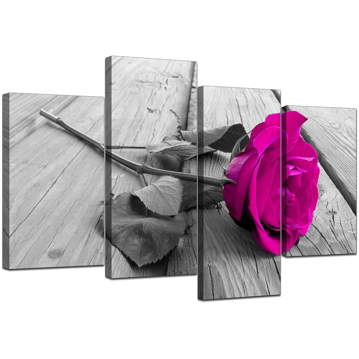 Canvas Prints Of Pink Rose In Black & White For Your Bedroom With Regard To Most Popular Pink Canvas Wall Art (View 8 of 15)