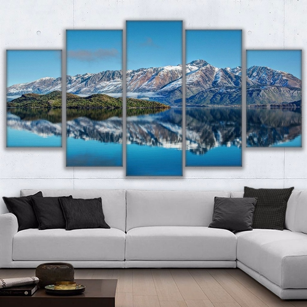 Canvas Prints Poster Wall Art Frame Home Decor 5 Piece Queenstown Inside Best And Newest Mountains Canvas Wall Art (View 6 of 15)