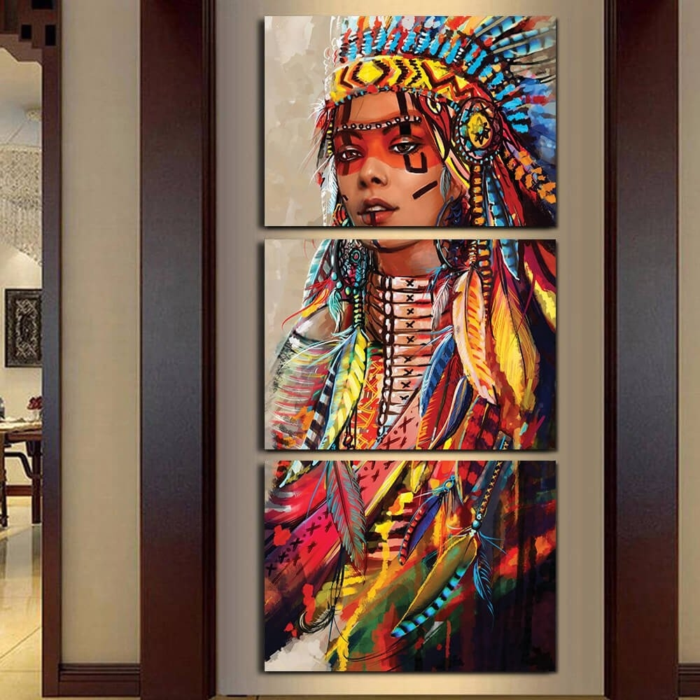 Canvas Wall Art Canvas Painting Landscape 3 Panel Native American Intended For Current India Canvas Wall Art (View 5 of 15)
