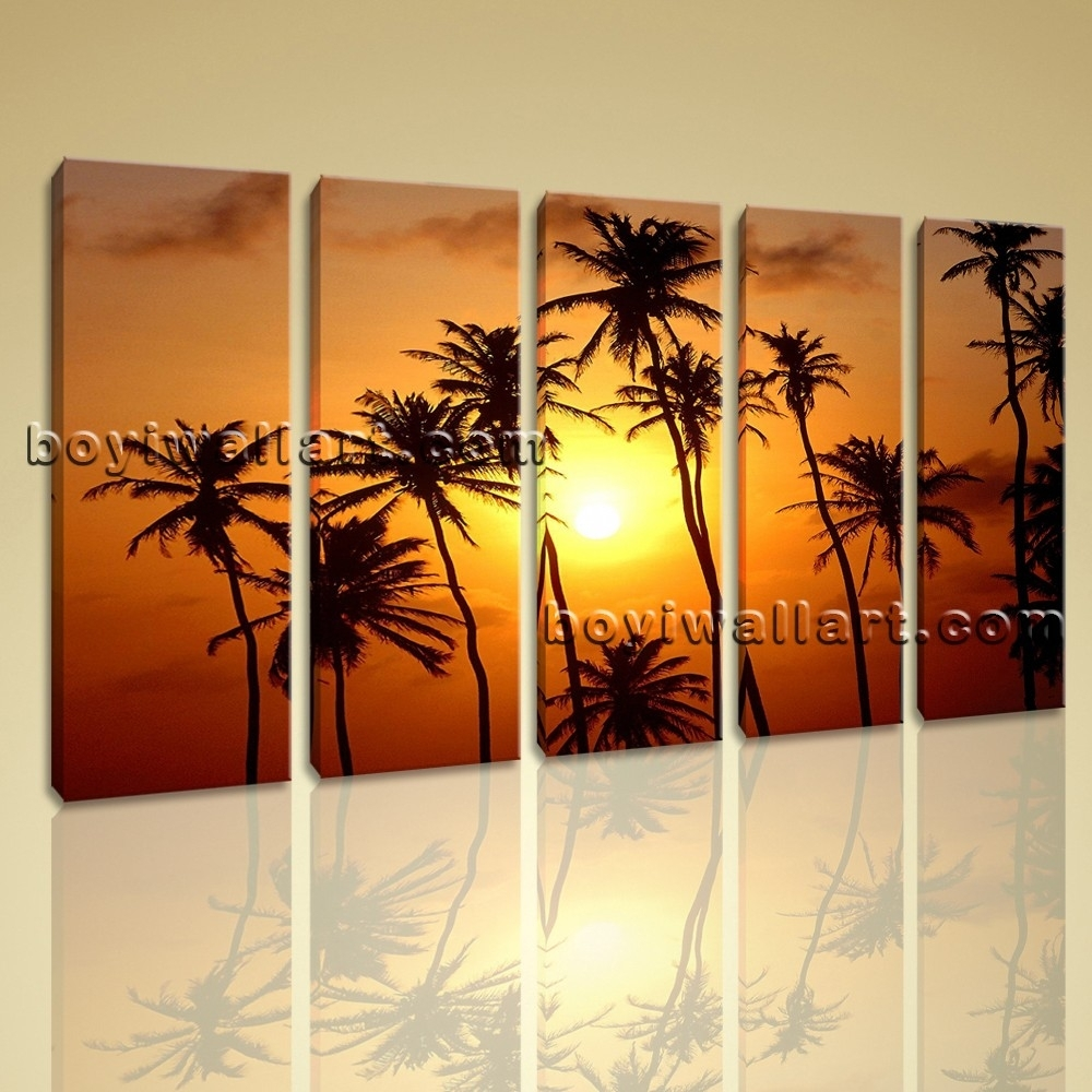 Canvas Wall Art Giclee Print Stretched Landscape Sunset Glow Palm Tree For Newest Large Canvas Wall Art (View 9 of 15)