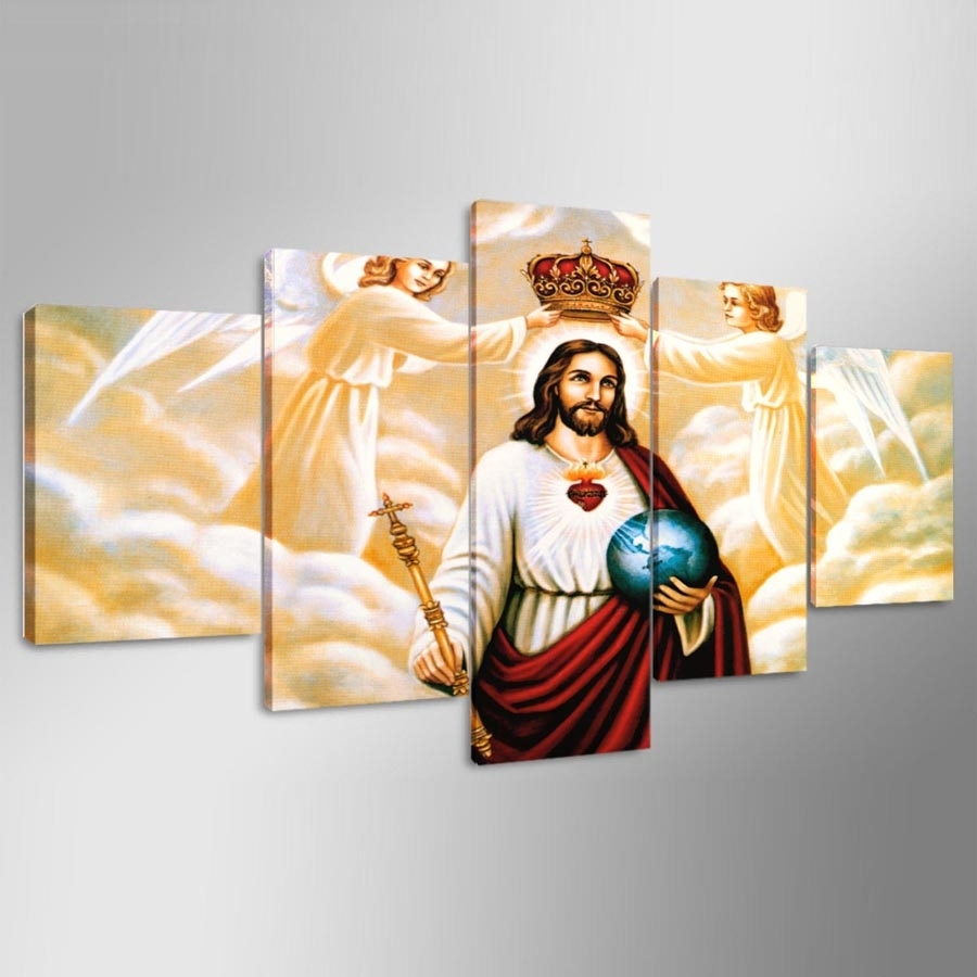 Canvas Wall Art Modular Frame Picture Landscape 5 Panels Jesus In Most Popular Jesus Canvas Wall Art (View 5 of 15)