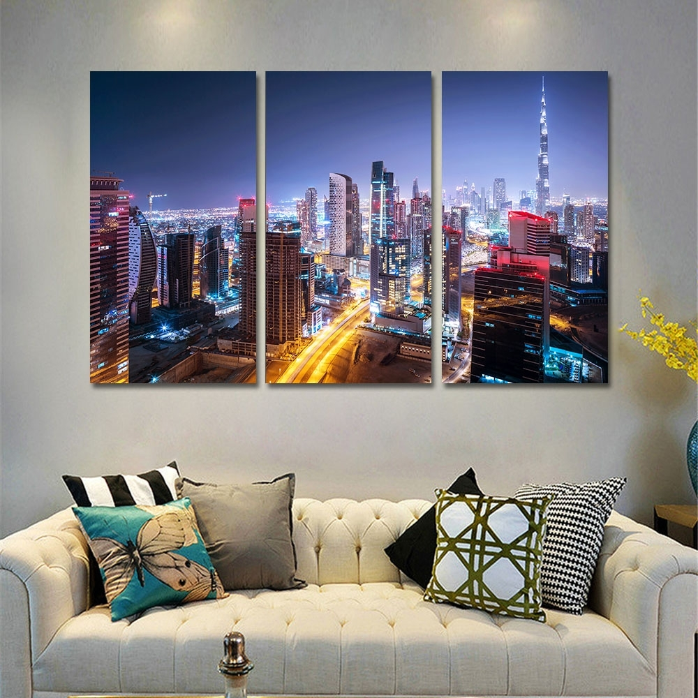 Canvas Wall Art Pictures Home Decor Frame 3 Pieces Dubai City With Regard To 2017 Dubai Canvas Wall Art (View 10 of 15)