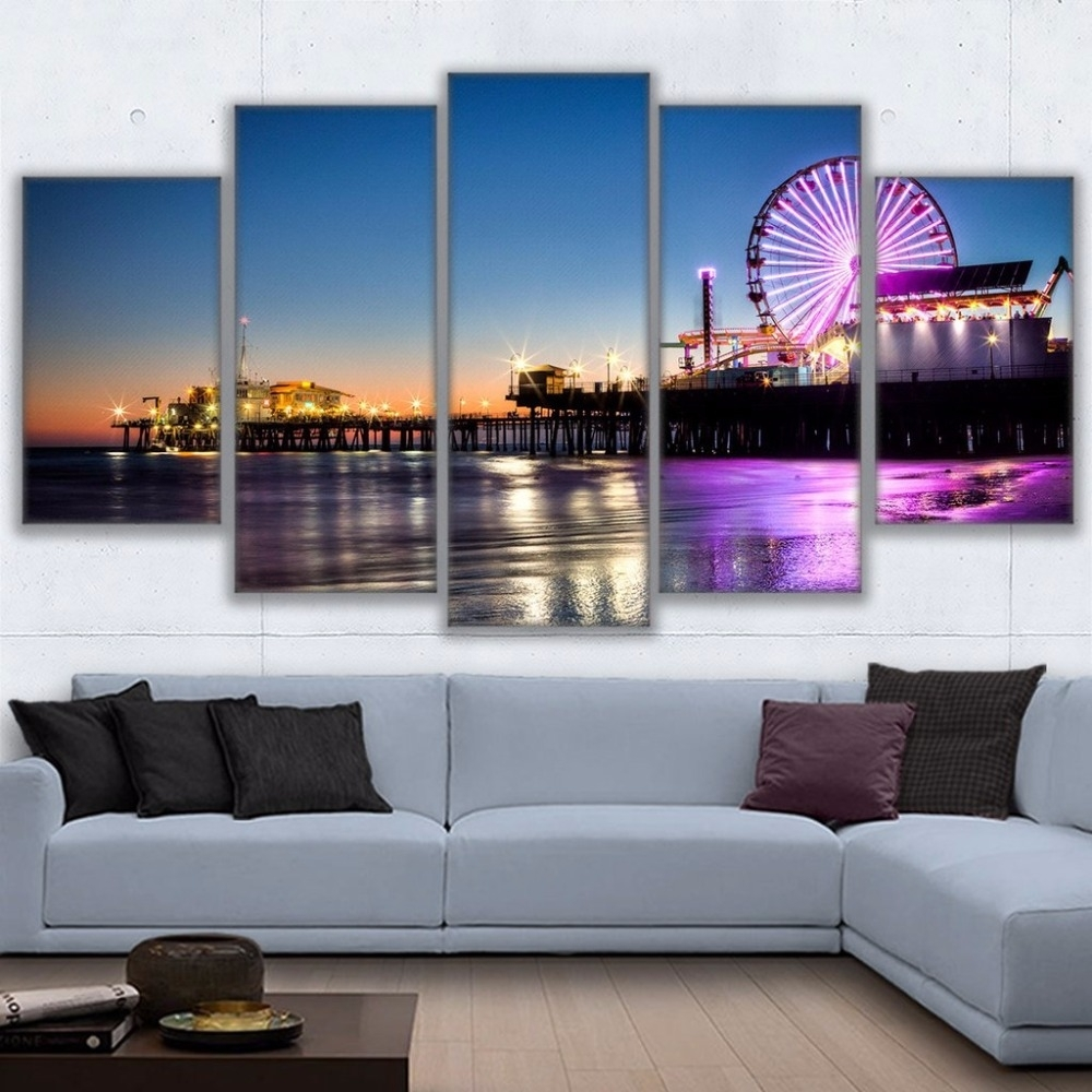 Canvas Wall Art Pictures Home Decor Living Room 5 Pieces Los With Regard To Most Recent Los Angeles Canvas Wall Art (View 12 of 15)