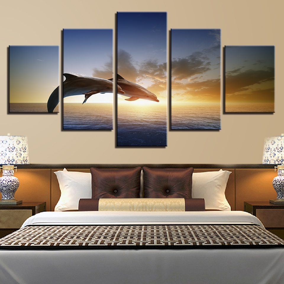 Canvas Wall Art Pictures Living Room Decor 5 Pieces Jumping For Most Recently Released Jump Canvas Wall Art (Gallery 15 of 15)