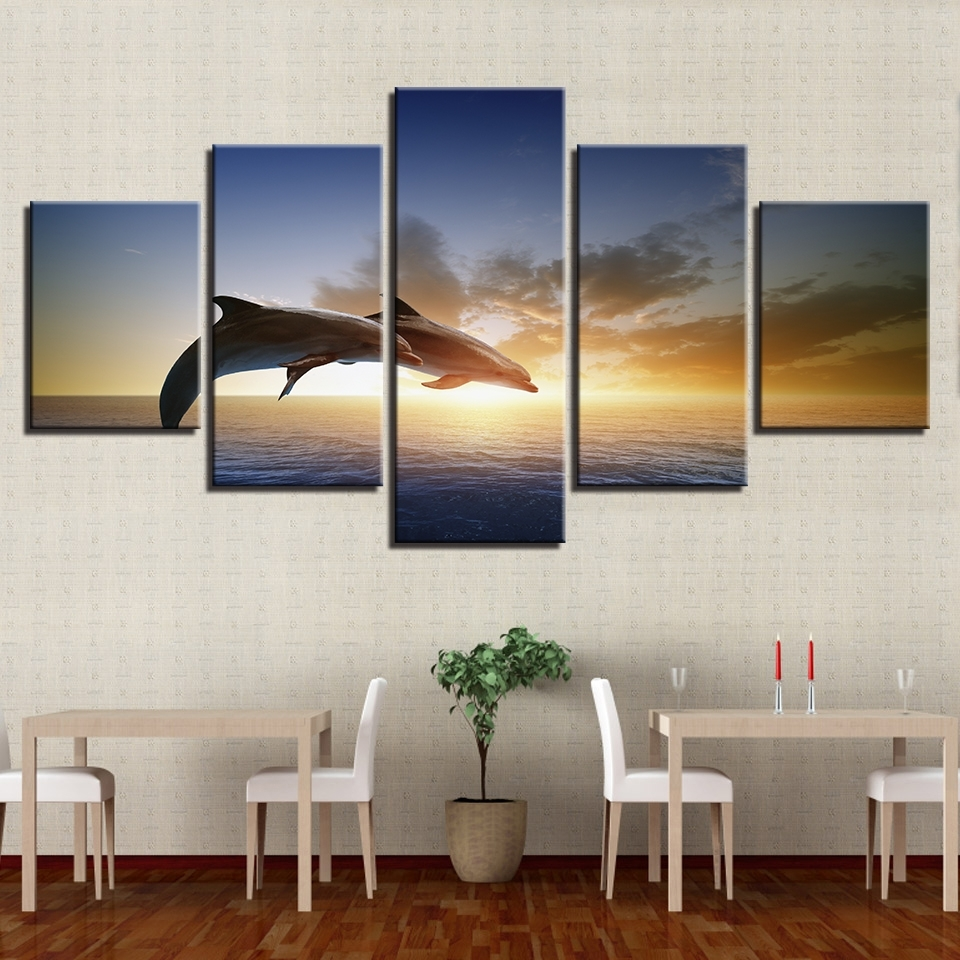 Canvas Wall Art Pictures Living Room Decor 5 Pieces Jumping With Regard To Newest Jump Canvas Wall Art (View 9 of 15)