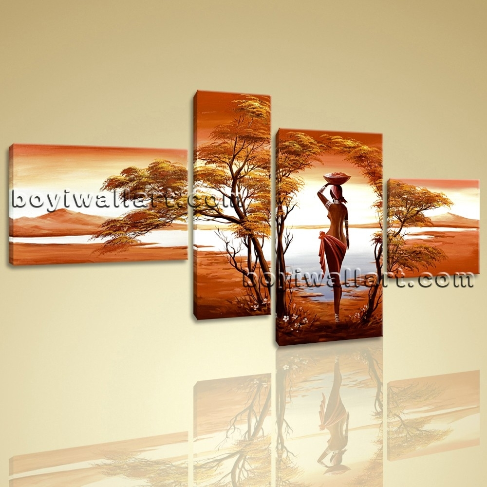 Canvas Wall Art Prints 4 Pieces Abstract Landscape Sunet Harvest Lady Within 2018 Large Canvas Wall Art (Gallery 2 of 15)