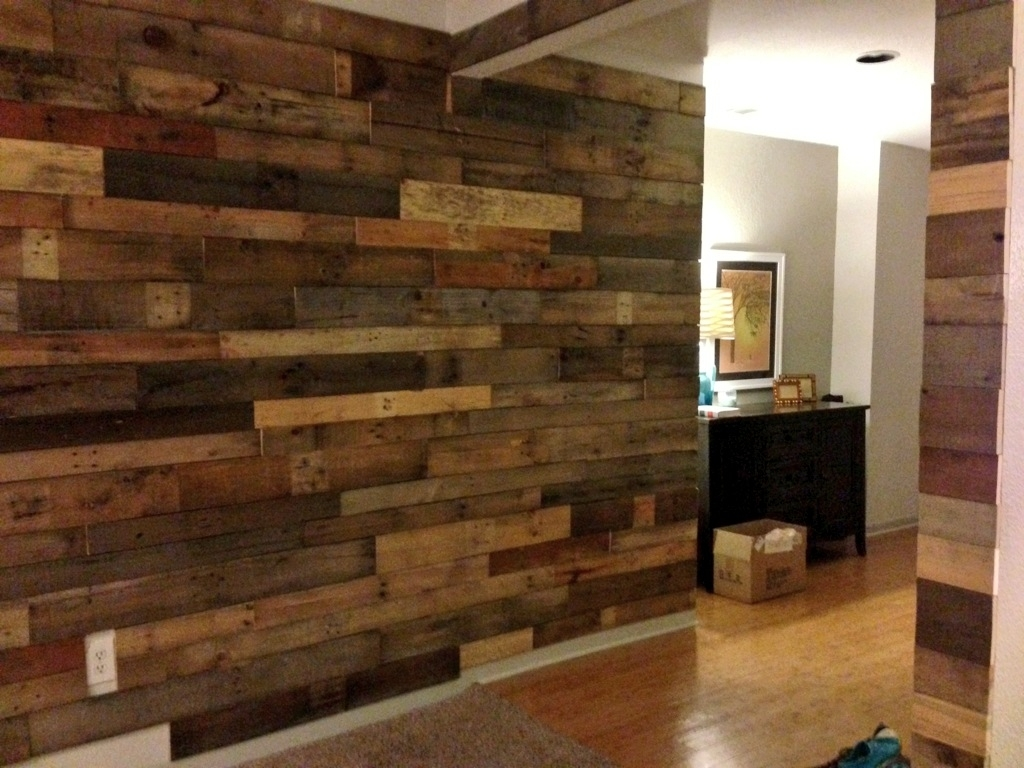Car Wait To Do Our Pallet Wall! Alex's Needs To Get On It Pertaining To Current Wood Pallets Wall Accents (Gallery 10 of 15)