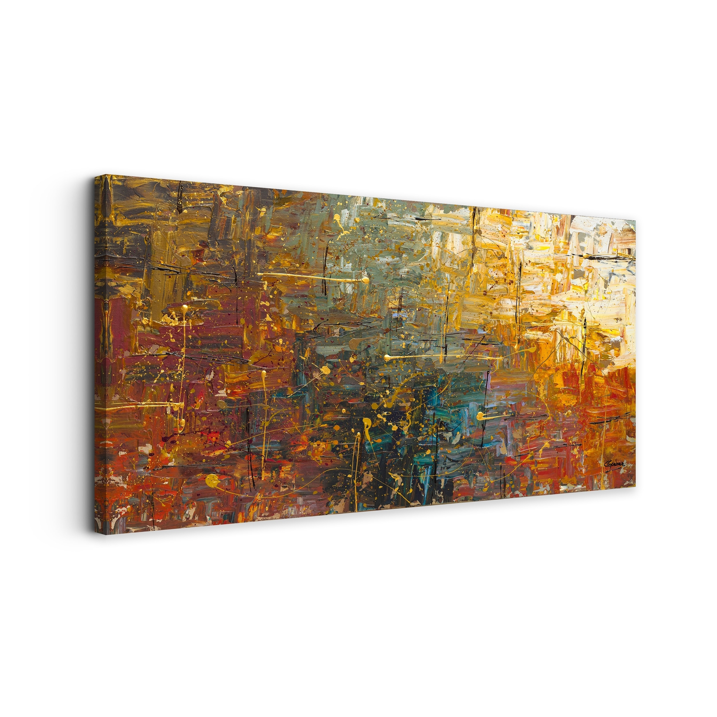 Carmen Guedez 'gold Splash' Canvas Wall Art (24 X 48) – Free Within Latest Gold Canvas Wall Art (View 4 of 15)