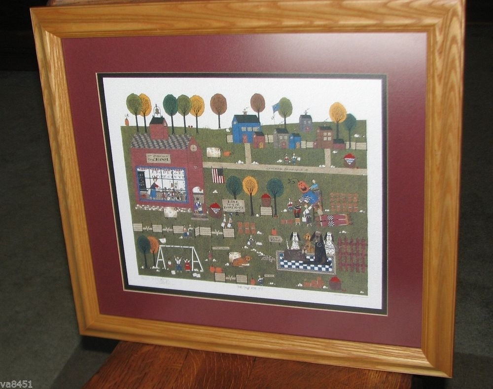 """Catherine Grunewald Artist Proof Print """"the Dog Ate It"""" 12/50 With 2017 Framed Folk Art Prints (View 5 of 15)"""