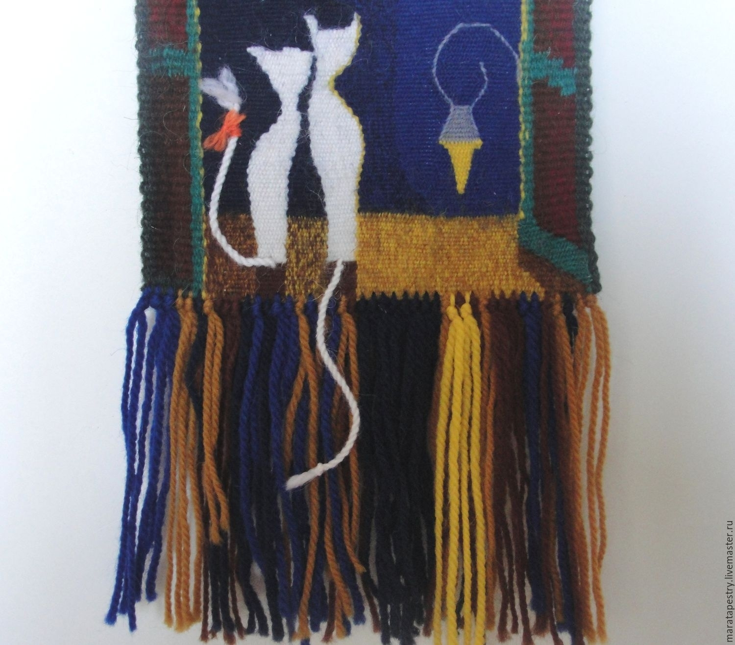 Cats Woven Wall Hanging Woven Tapestry Wall Art Fiber Textile Intended For Recent Woven Textile Wall Art (View 8 of 15)