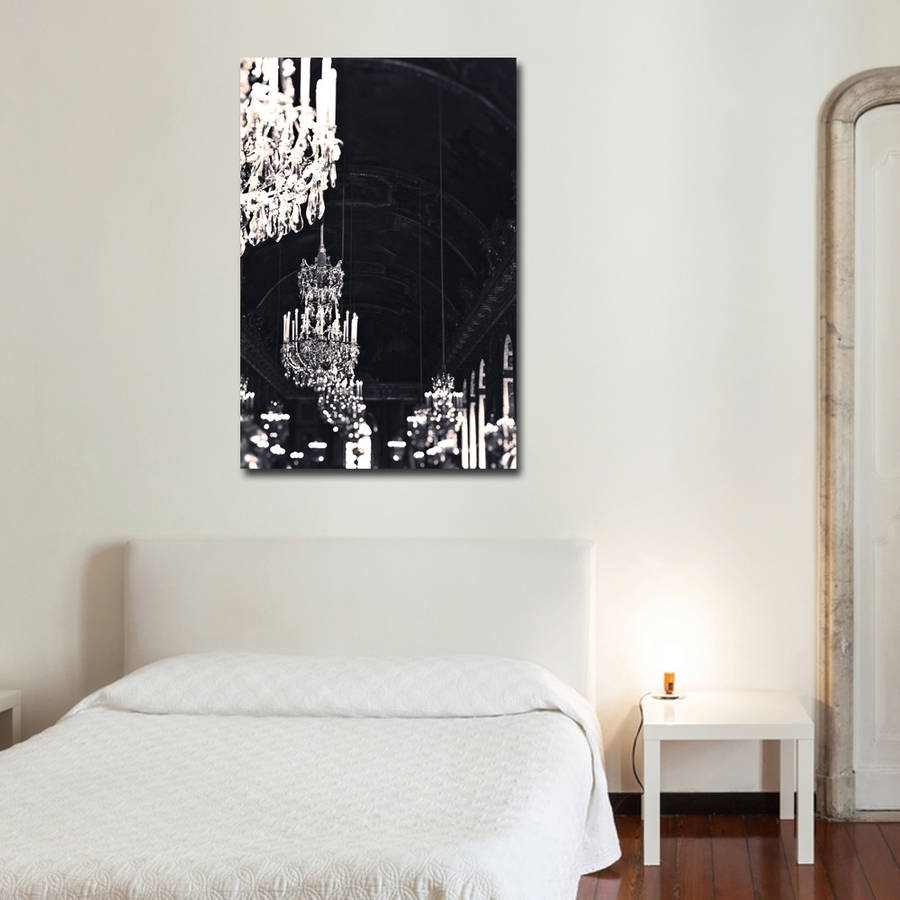 wll art stretched on p canvas and background white chandelier crystal grunge wall