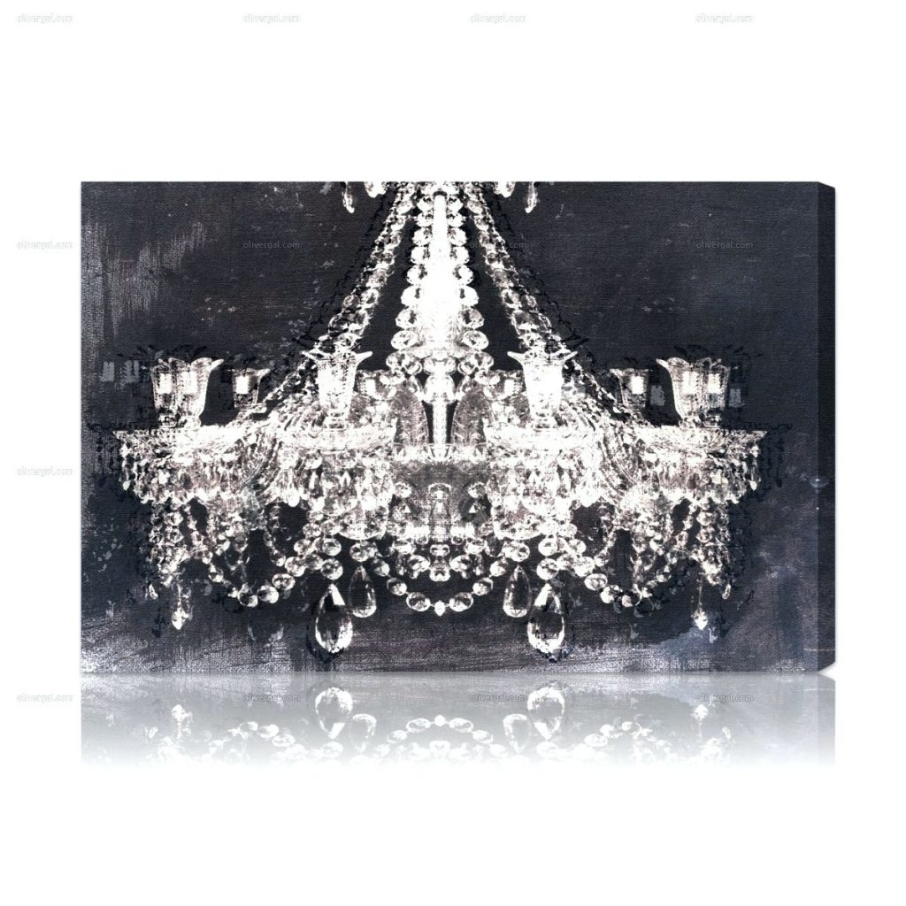 Superior Chandeliers ~ Dramatic Entrance Night Jeweled Chandelier Canvas Inside  Recent Chandelier Canvas Wall Art (View