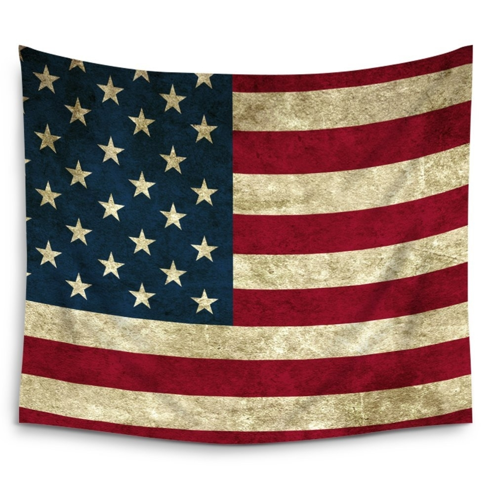 Charmhome American Flag Grunge United States Usa Wall Tapestry Within 2018 American Flag Fabric Wall Art (View 8 of 15)