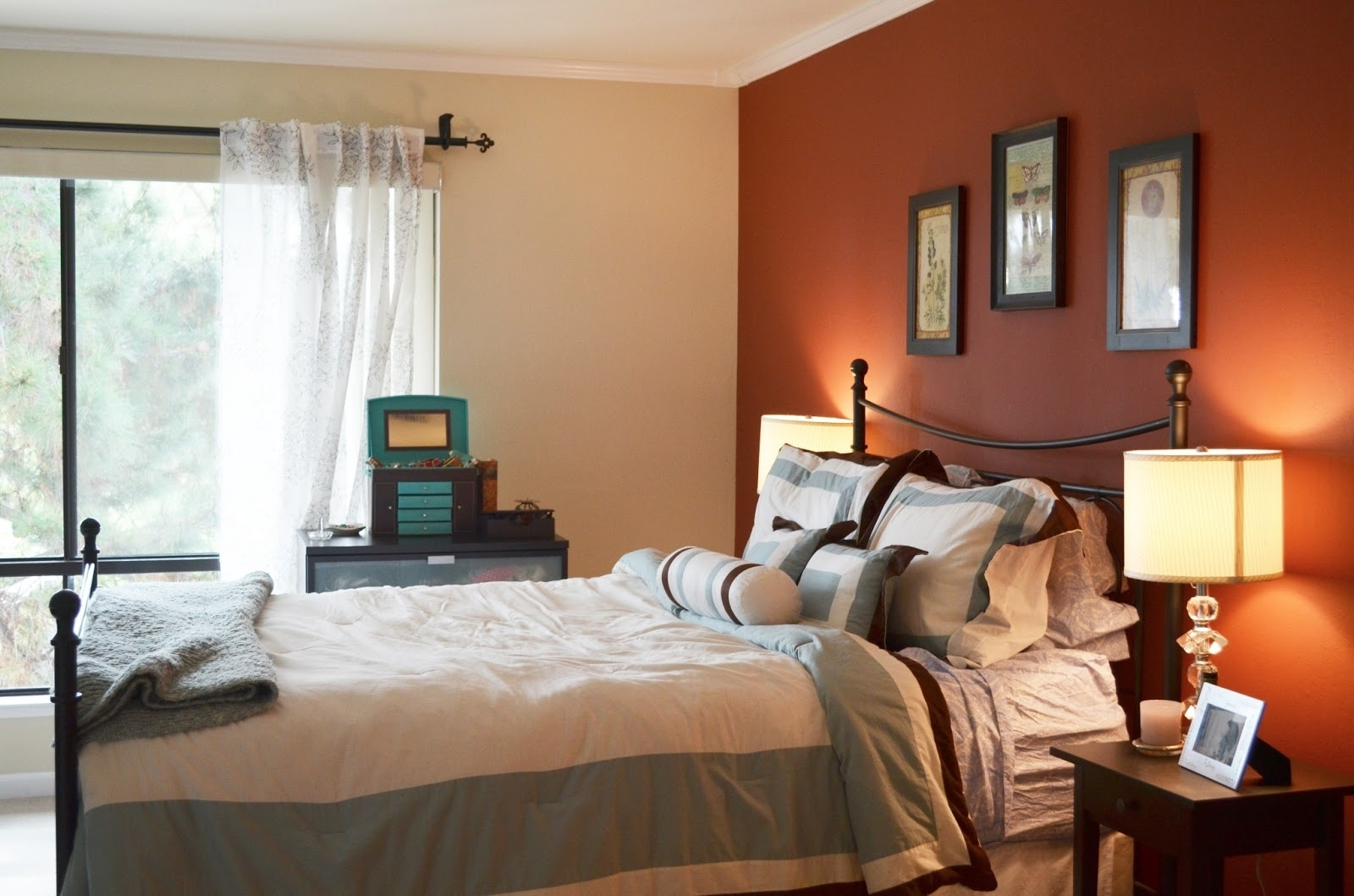 Charming Bedroom Design With Orange Accents Wall Painted And Inside 2017 Wall Colors And Accents (View 7 of 15)