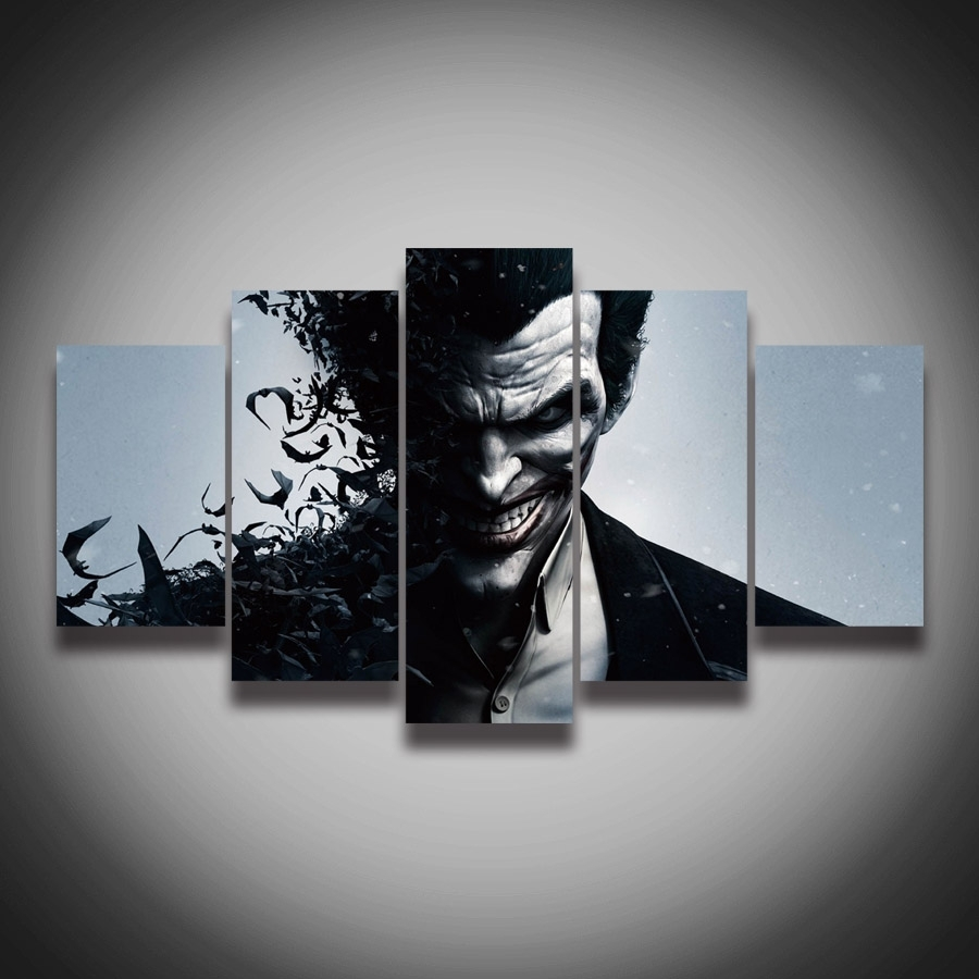 Cheap 5 Panel Hd Printed Oil Painting Animation Joker Poster Within Newest Joker Canvas Wall Art (View 8 of 15)