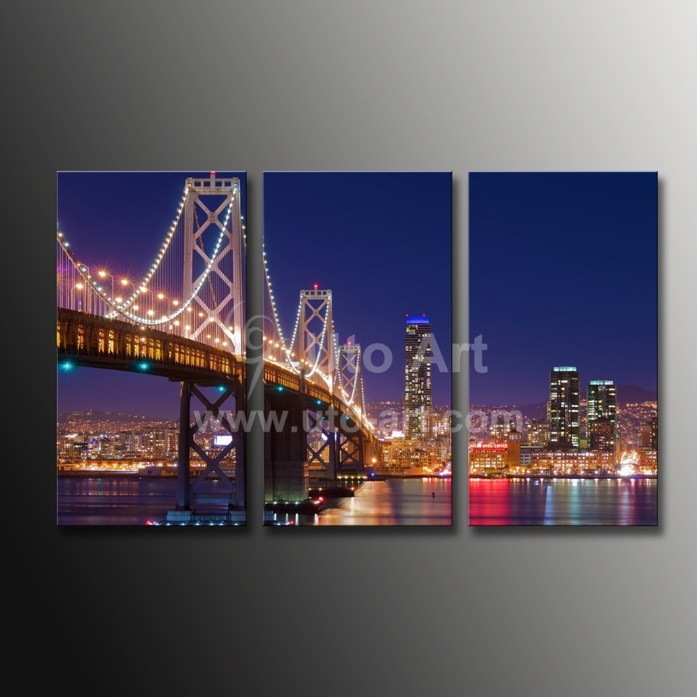 Cheap Custom Canvas Prints 3 Panel Wall Art Painting California Pertaining To Most Popular Golden Gate Bridge Canvas Wall Art (View 7 of 15)