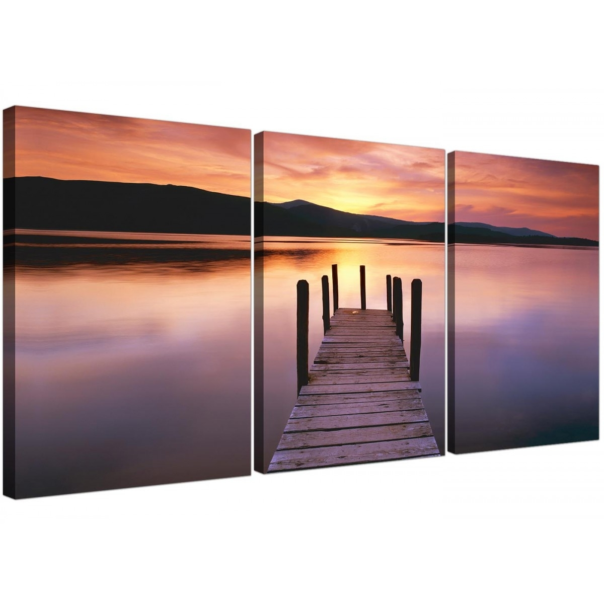Cheap Lake Sunset Canvas Prints Set Of 3 For Your Living Room Within Current Jetty Canvas Wall Art (Gallery 12 of 15)