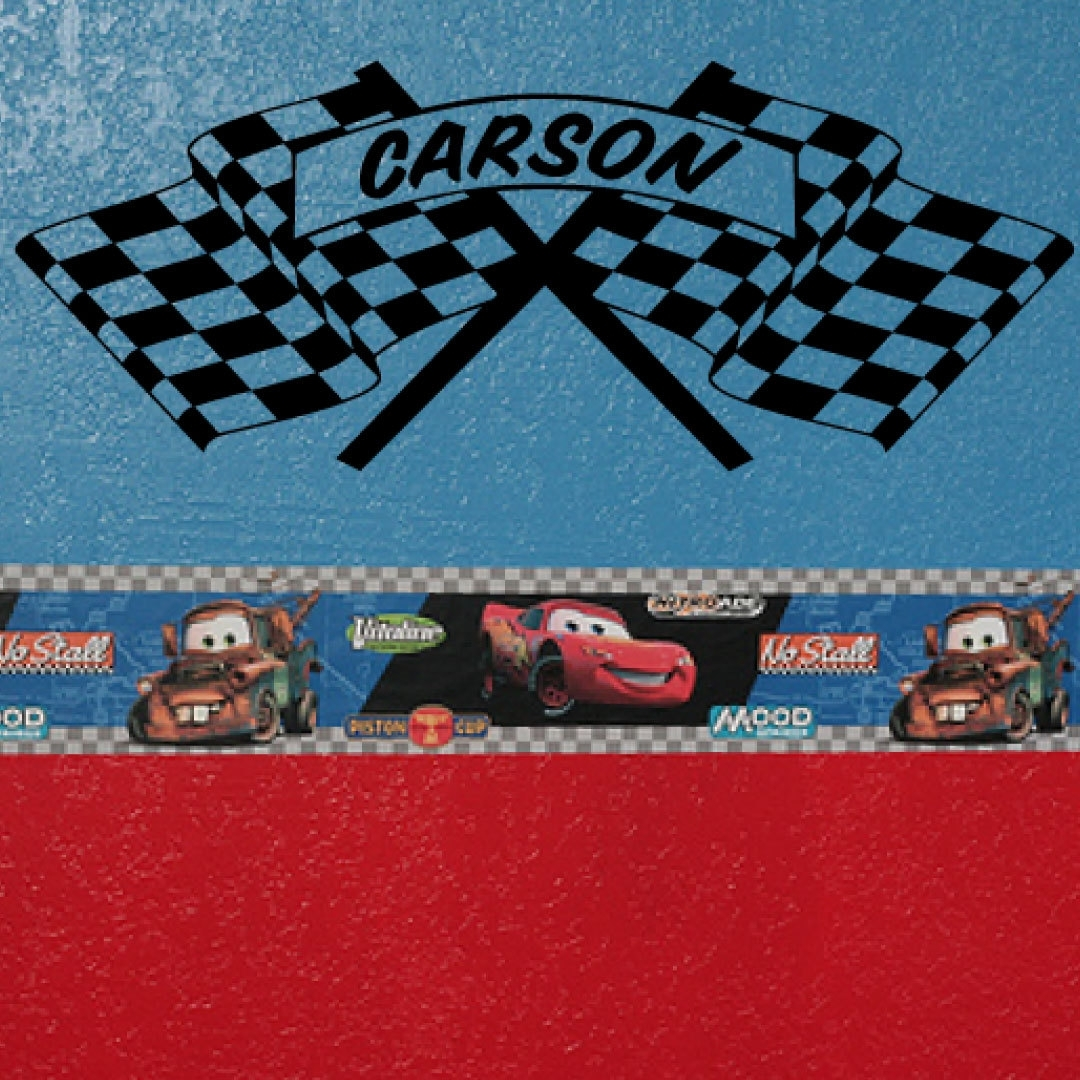 Checkered Flag Decal, Car Wall Decal, Cars Wall Art, Boy Room Inside Recent Cars Theme Canvas Wall Art (View 5 of 15)