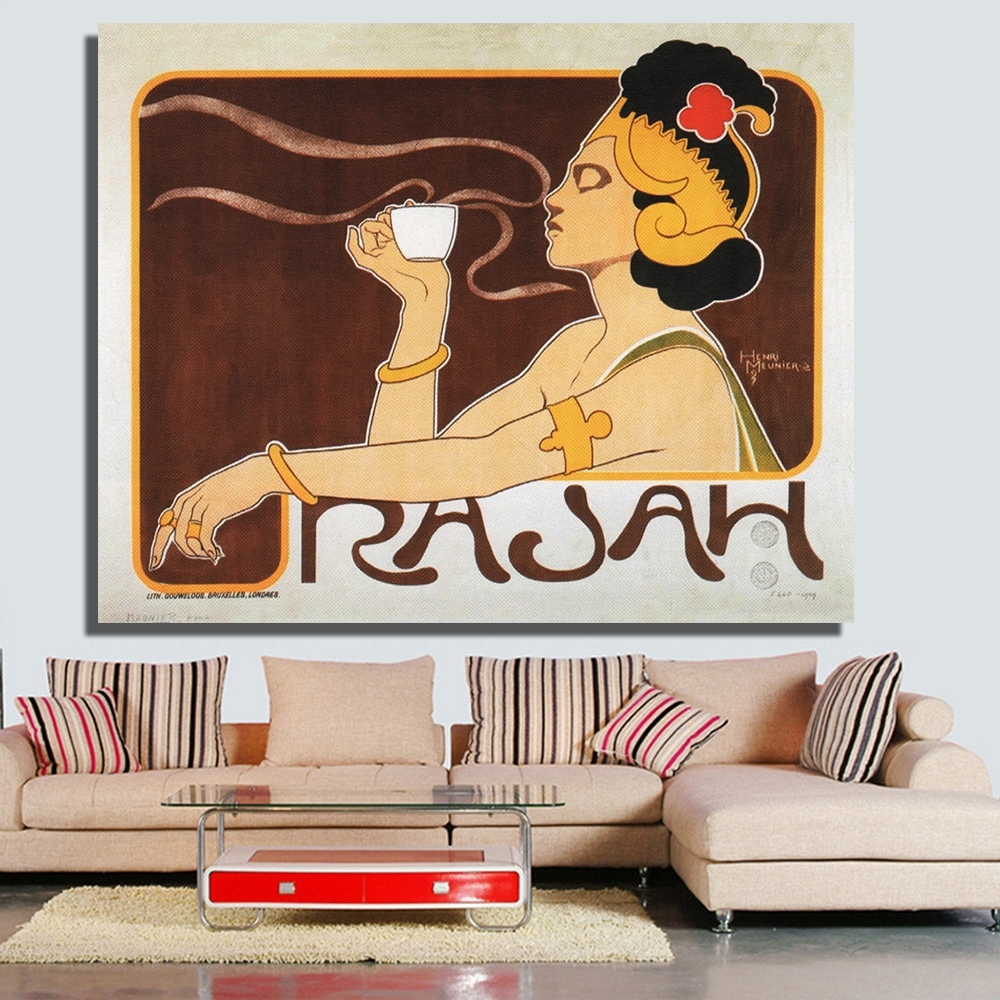 Chenfart Home Decor Canvas Prints Rajah Coffee Art Nouveau Poster Intended For Most Current Framed Coffee Art Prints (View 14 of 15)