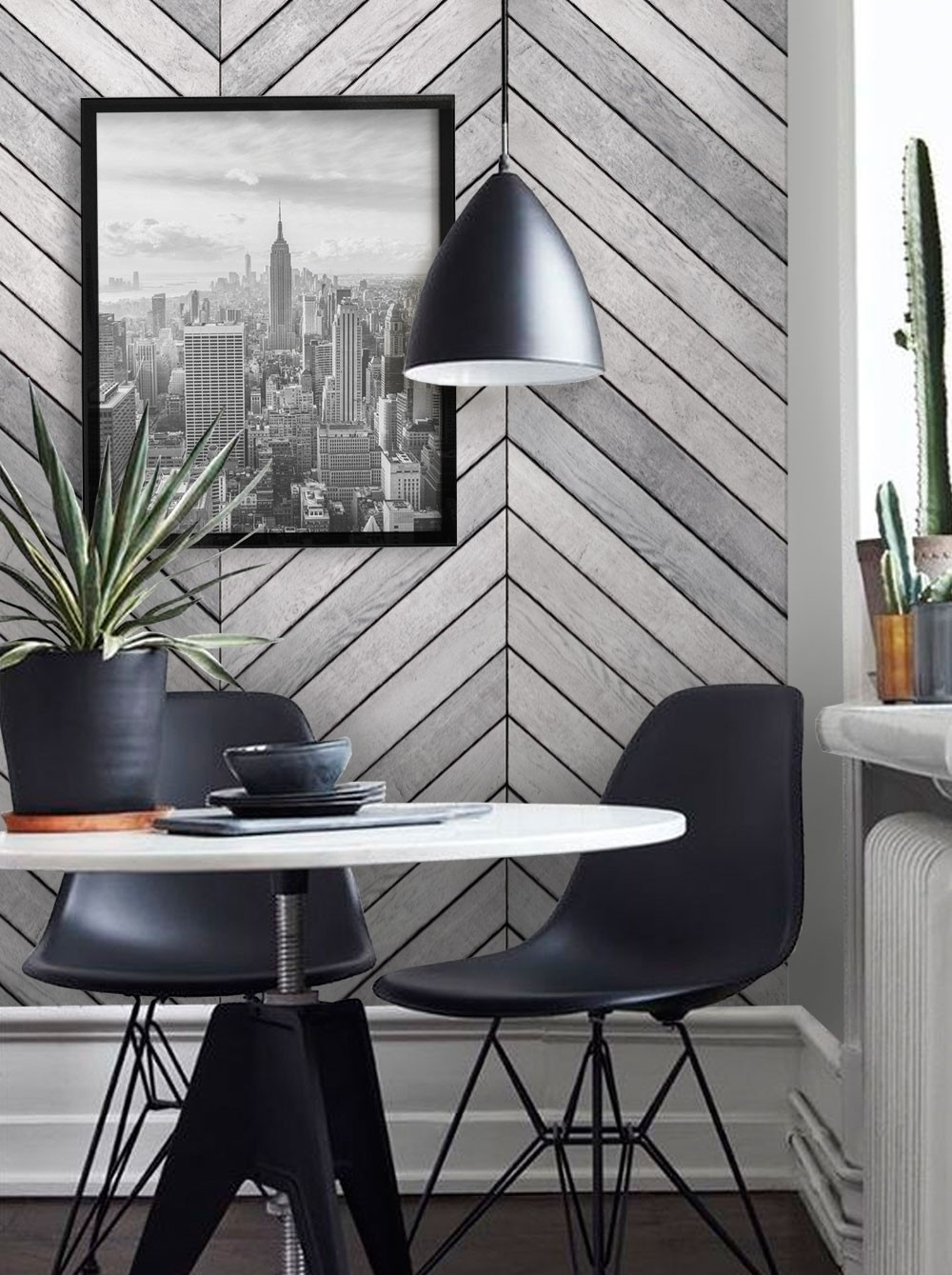 Chevron Grey White Wood Accent Mural Wall Art Wallpaper – Peel And Intended For Newest Grey And White Wall Accents (View 5 of 15)