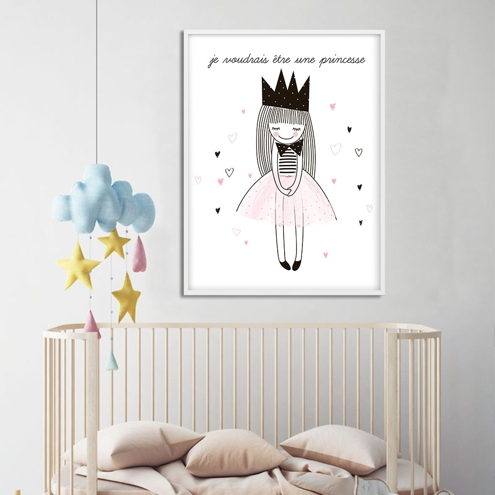 Children Posters Cute Cartoon Girl Wall Art Canvas Prints Cartoon Pertaining To Most Up To Date Girl Canvas Wall Art (View 15 of 15)