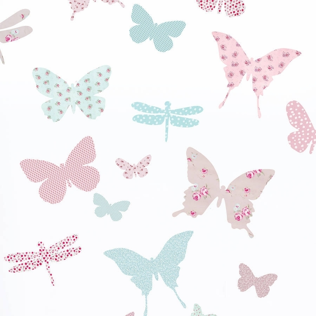 Childrens Butterfly Fabric Wall Stickers Koko Kids In Vintage Within Best And Newest Fabric Butterfly Wall Art (Gallery 6 of 15)