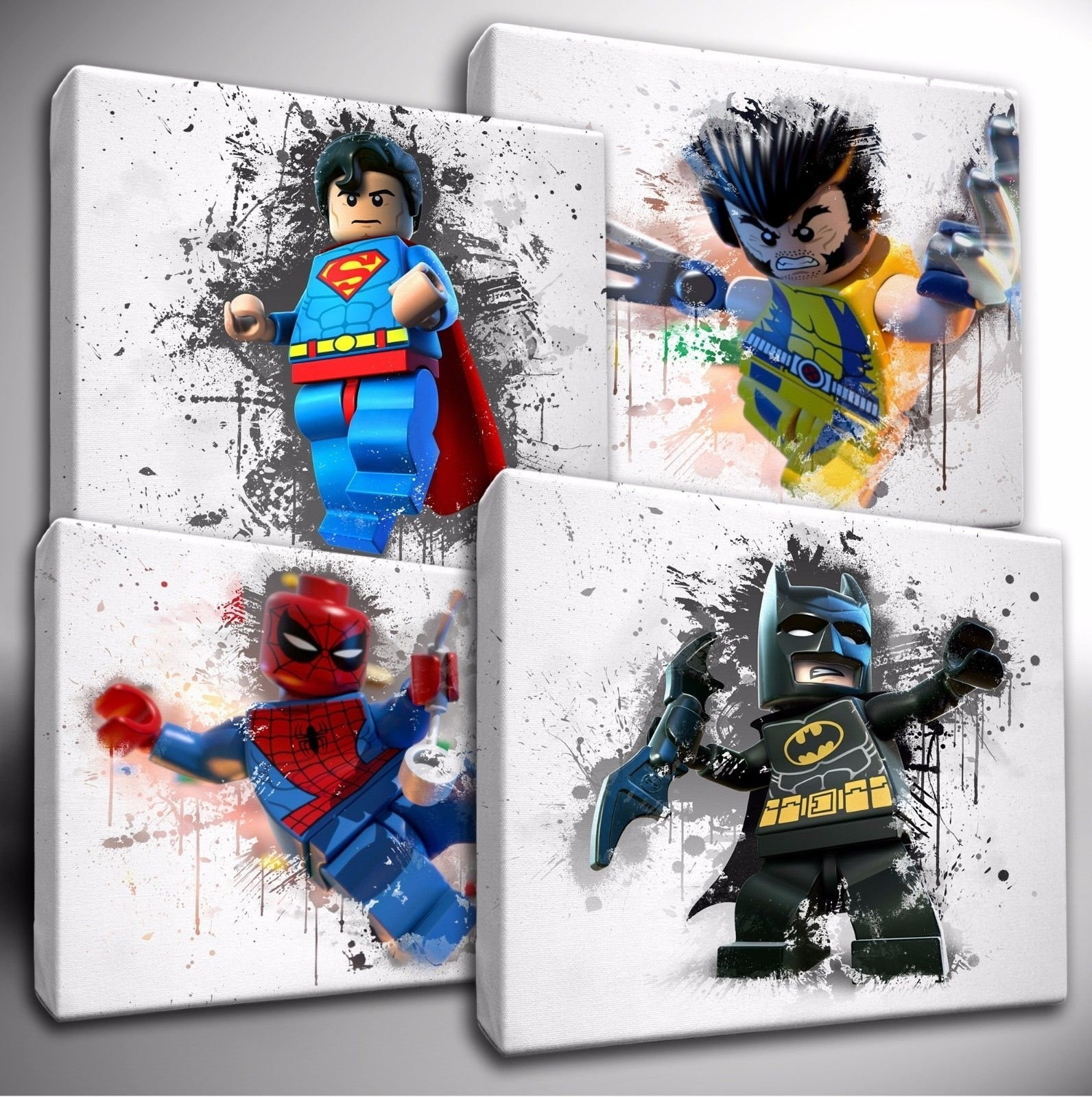 Choose Your Lego Marvel / Dc Characters Paint Splatter Canvas Wall Within Most Current Marvel Canvas Wall Art (View 5 of 15)