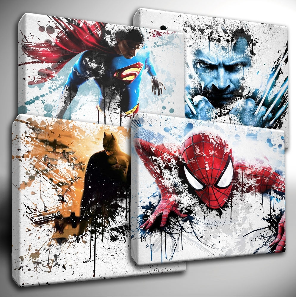 Choose Your Marvel Avengers / Dc Characters Paint Splatter Canvas In Best And Newest Marvel Canvas Wall Art (View 6 of 15)