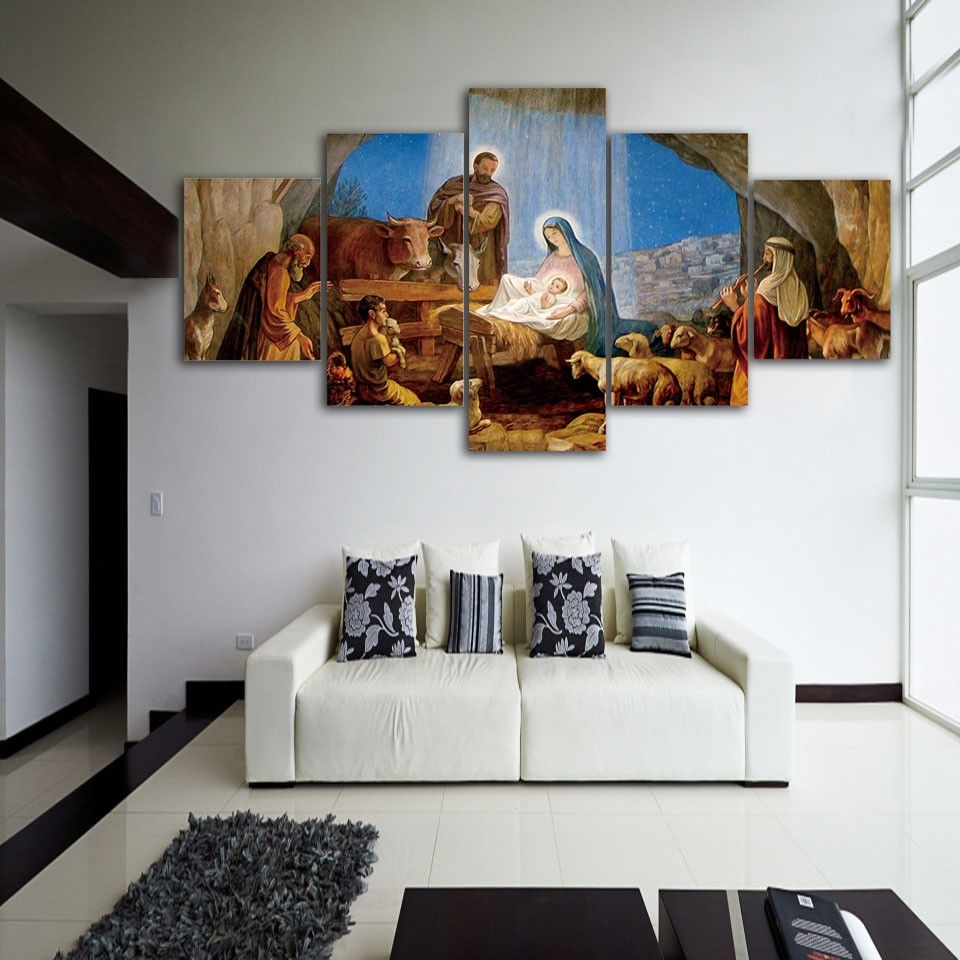 Christmas Birth Of Jesus 5Pcs Painting Printed Canvas Wall Art In Most Recent Jesus Canvas Wall Art (View 6 of 15)
