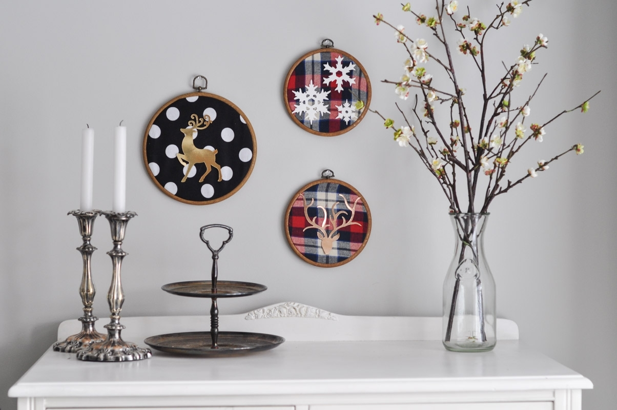 Christmas Embroidery Hoop Art With The Sizzix Big Shot – Suburble Inside Best And Newest Fabric Hoop Wall Art (Gallery 9 of 15)