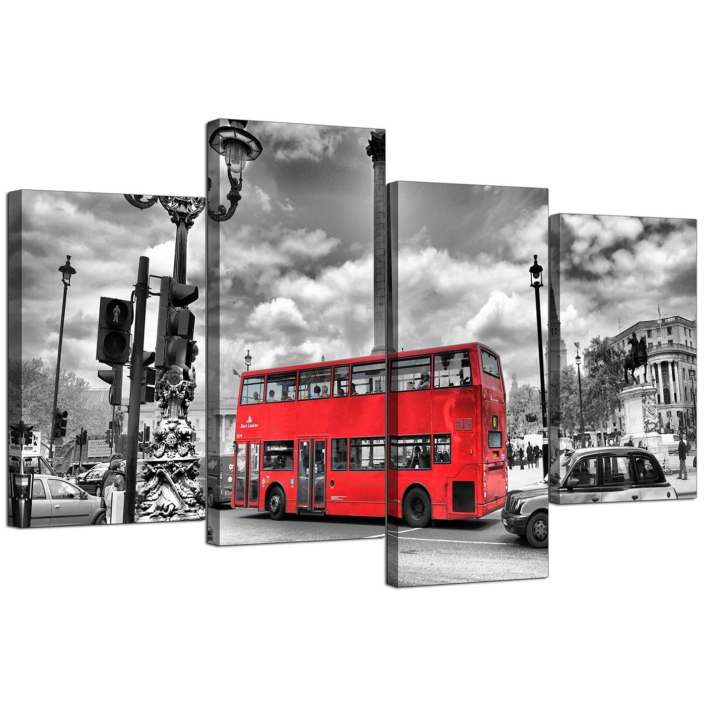 City London Canvas Prints Of Red Bus In Black & White For Living Room Pertaining To Newest London Canvas Wall Art (View 7 of 15)