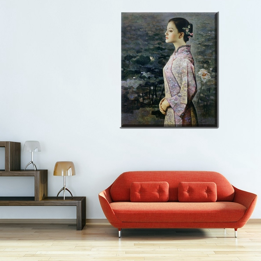 Classic Oriental Beauty The Lotus Pond Portrait Oil Painting Throughout Most Current Portrait Canvas Wall Art (View 15 of 15)