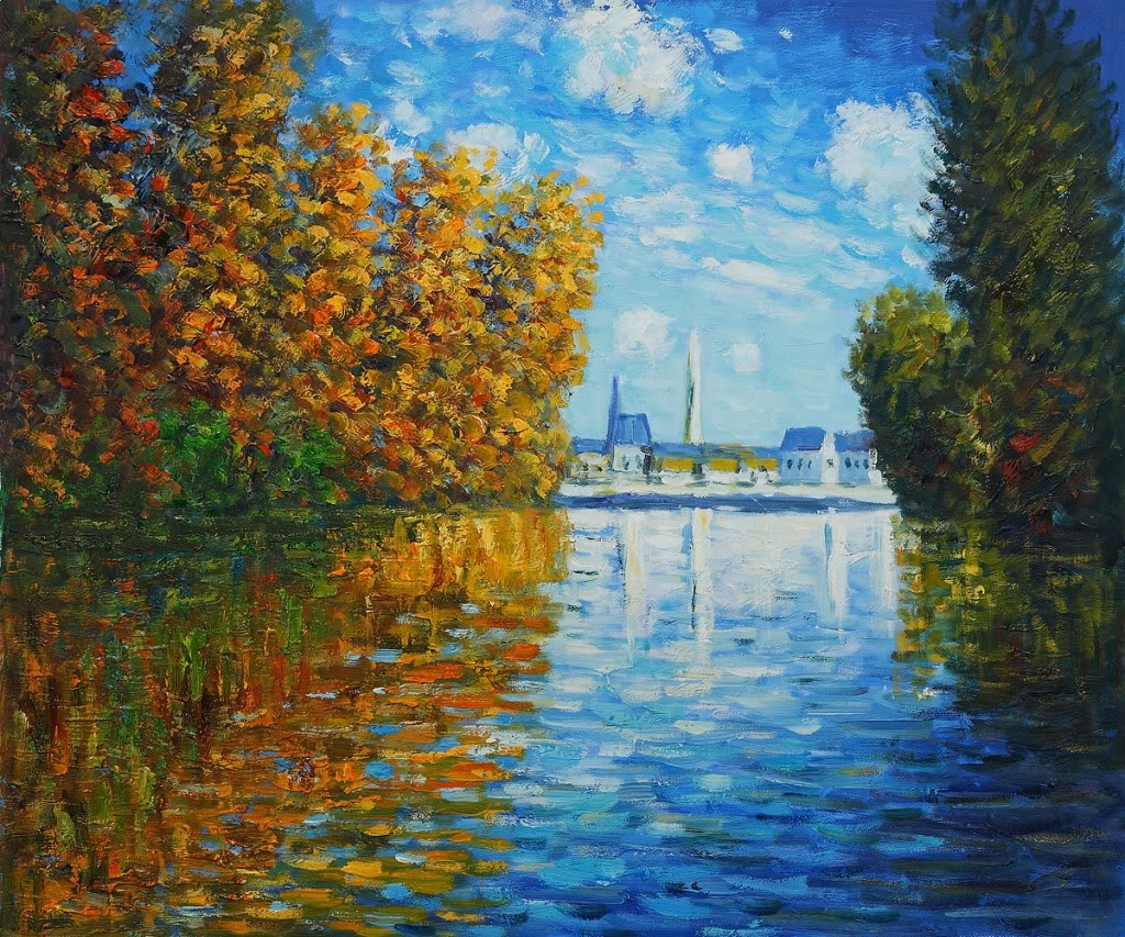 Claude Monet Autumn At Argenteuil Hand Painted Oil Painting On Throughout Most Up To Date Monet Canvas Wall Art (View 3 of 15)