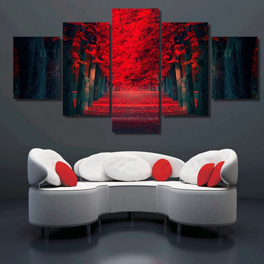 Clstrose 5 Pcs Wall Art Beautiful Red Forest Modern Wall Painting Within Newest Modern Canvas Wall Art (View 8 of 15)