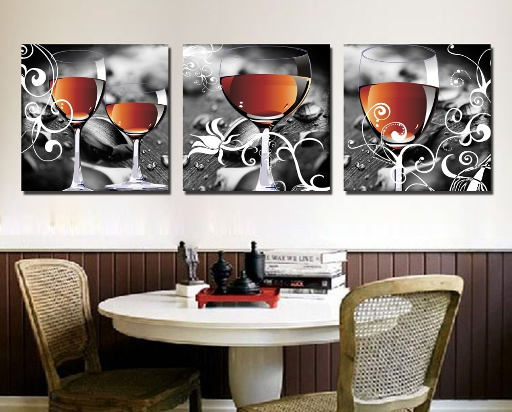Clstrose Cuadros Decoracion Household Wine Glasses 3 Piece Canvas Within 2017 Canvas Wall Art For Dining Room (View 2 of 15)
