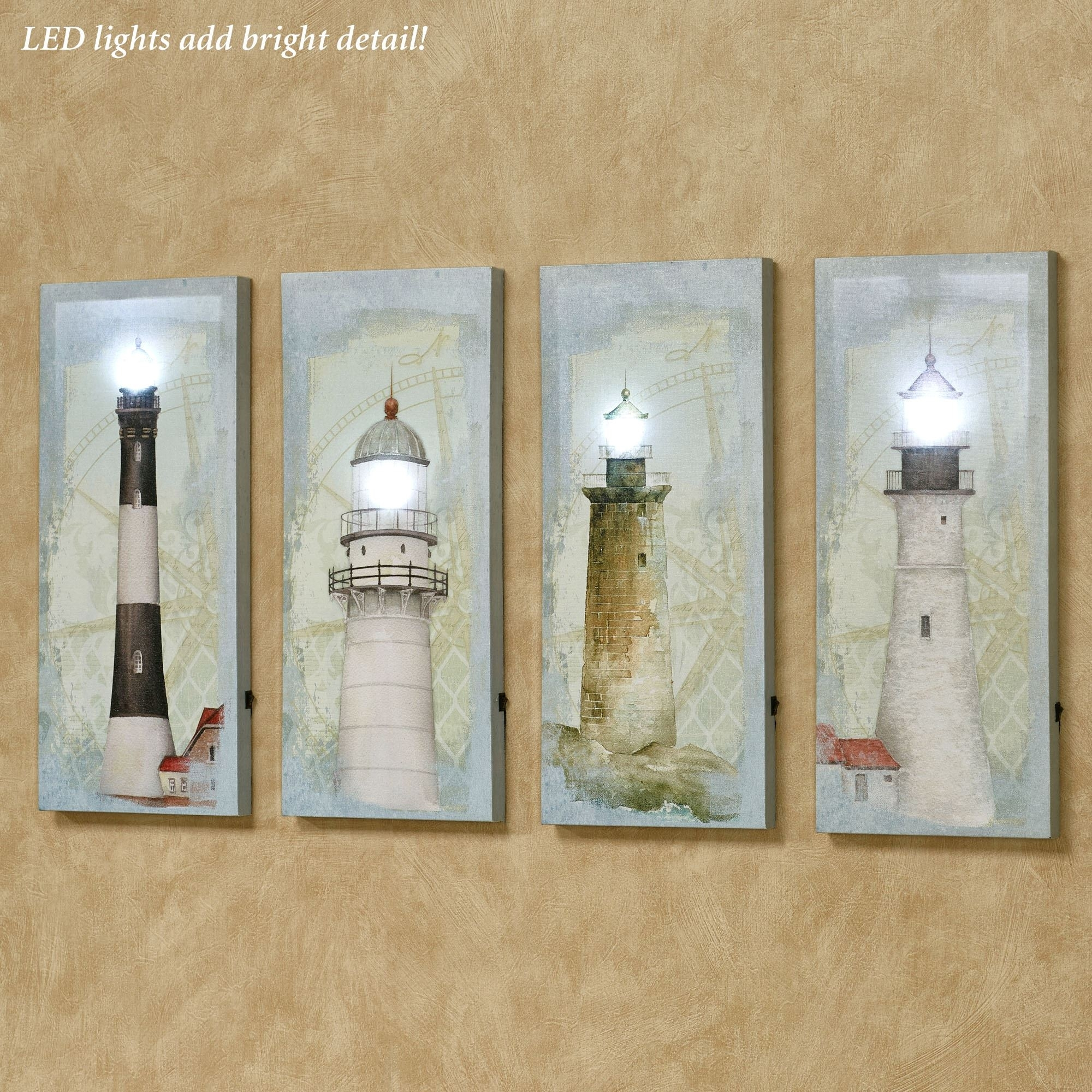 Coastal Lighthouse Led Lighted Canvas Wall Art Set Regarding 2017 Lighted Canvas Wall Art (View 15 of 15)