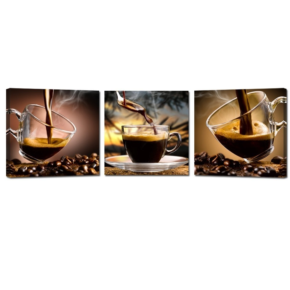 Coffee Canvas Wall Art Painting Coffee Cup Triptych Canvas Art With Best And Newest Coffee Canvas Wall Art (View 6 of 15)