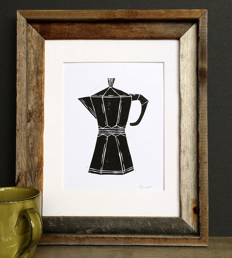 Coffee Pot Linocut Art Print | Art Prints & Posters | Printwork Within Latest Framed Coffee Art Prints (View 11 of 15)