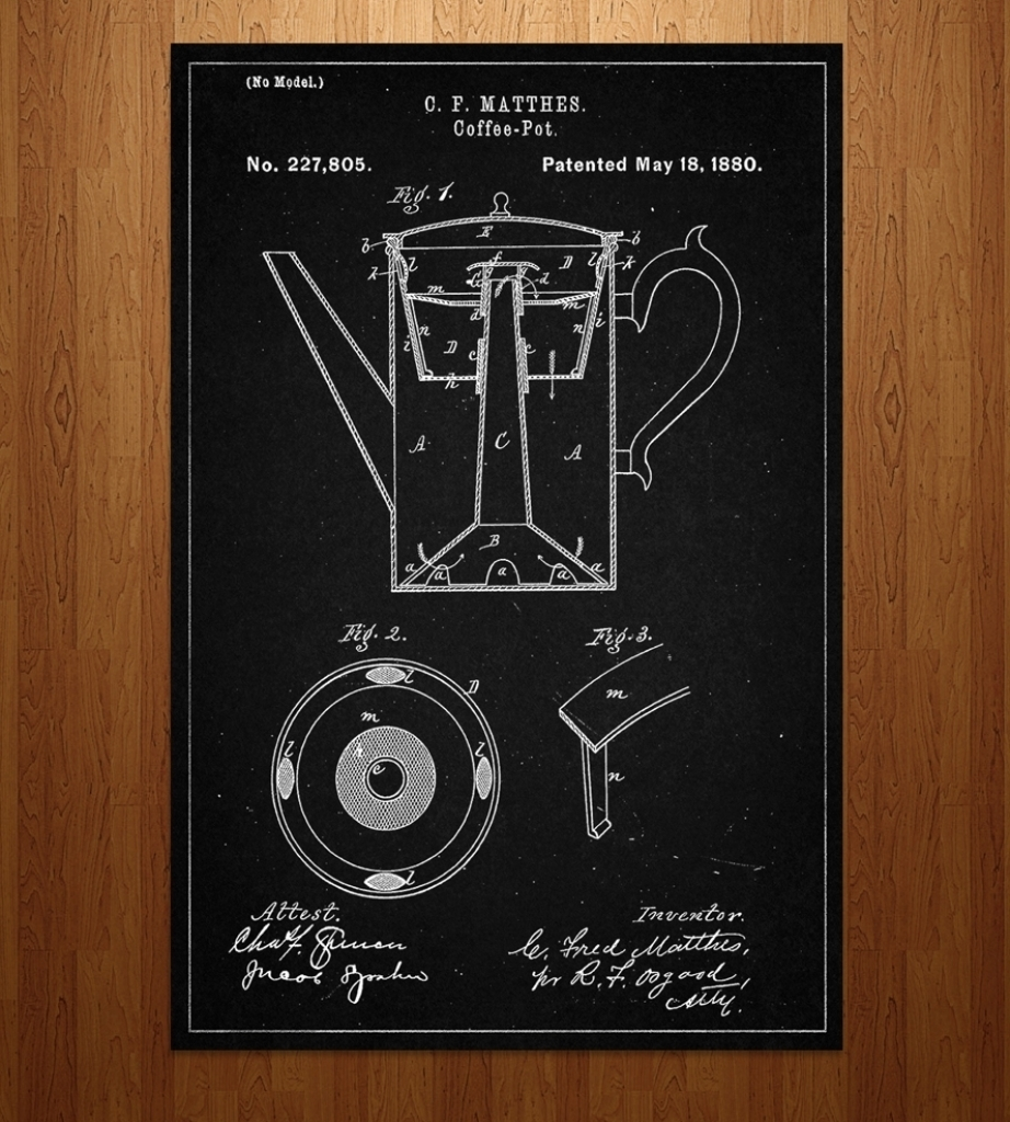 Coffee Pot Patent Art Print Features Coffee Tea Patent Intended Pertaining To Current Framed Coffee Art Prints (View 11 of 15)
