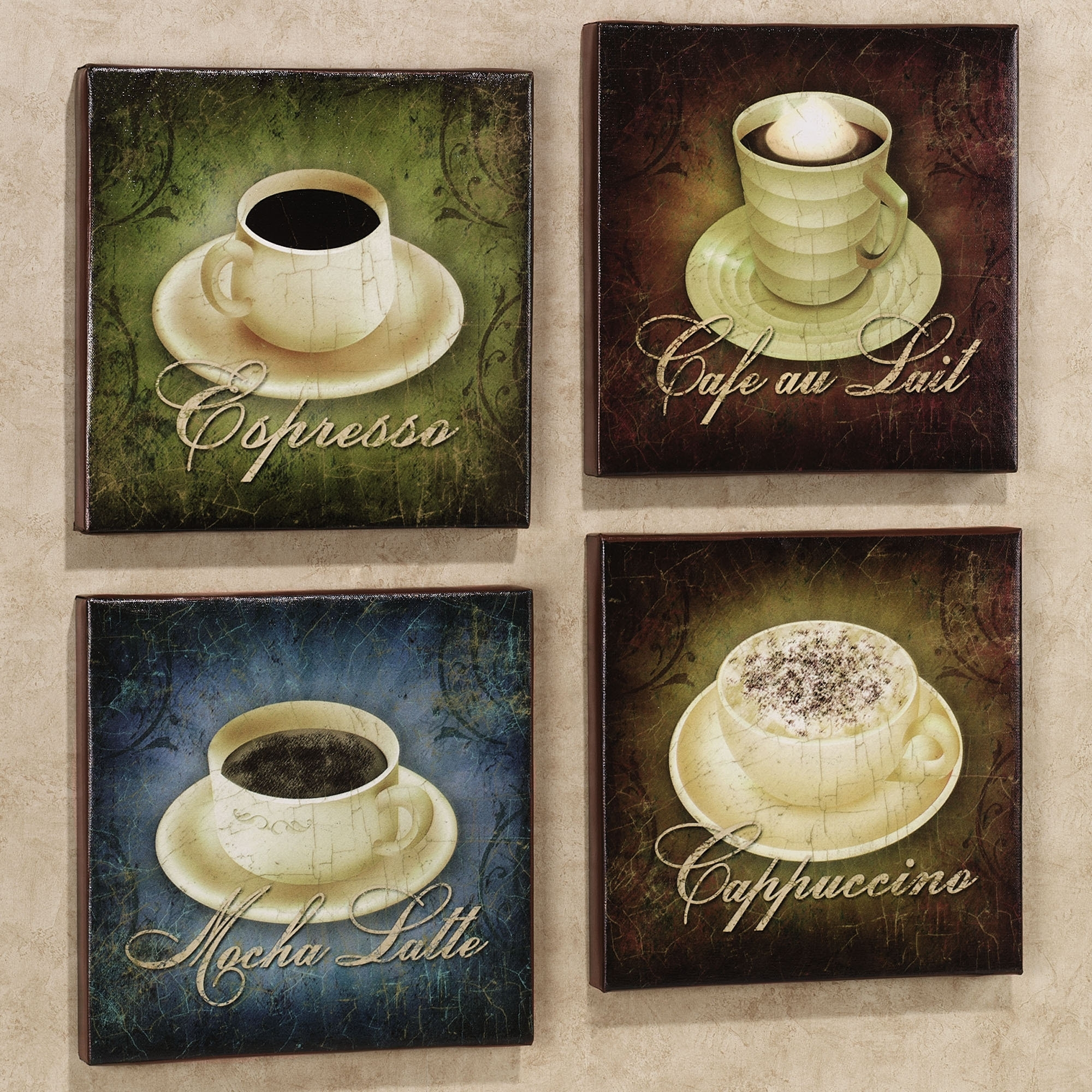Coffee Wall Art | Home Coffee Canvas Set Set Of Four | Office For Most Recent Coffee Canvas Wall Art (Gallery 1 of 15)