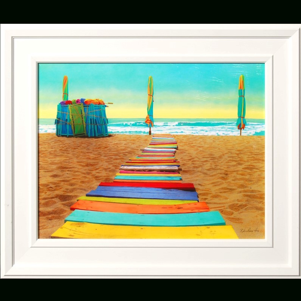 Colorful Beach Walkway Framed Art Print – Island Art Stone Harbor Regarding Most Popular Framed Beach Art Prints (Gallery 13 of 15)