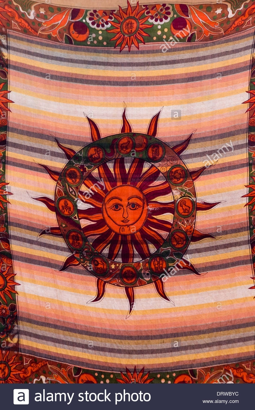 Colorful Indian Fabric Wall Hanging Of A Decorative Sun Stock Within Newest Indian Fabric Art Wall Hangings (View 14 of 15)
