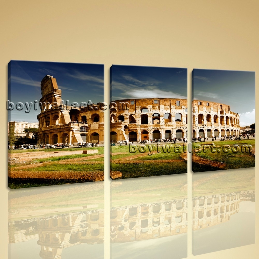 Colosseum Large Landscape Picture Canvas Wall Art Print World With 2018 Canvas Wall Art Of Rome (Gallery 4 of 15)