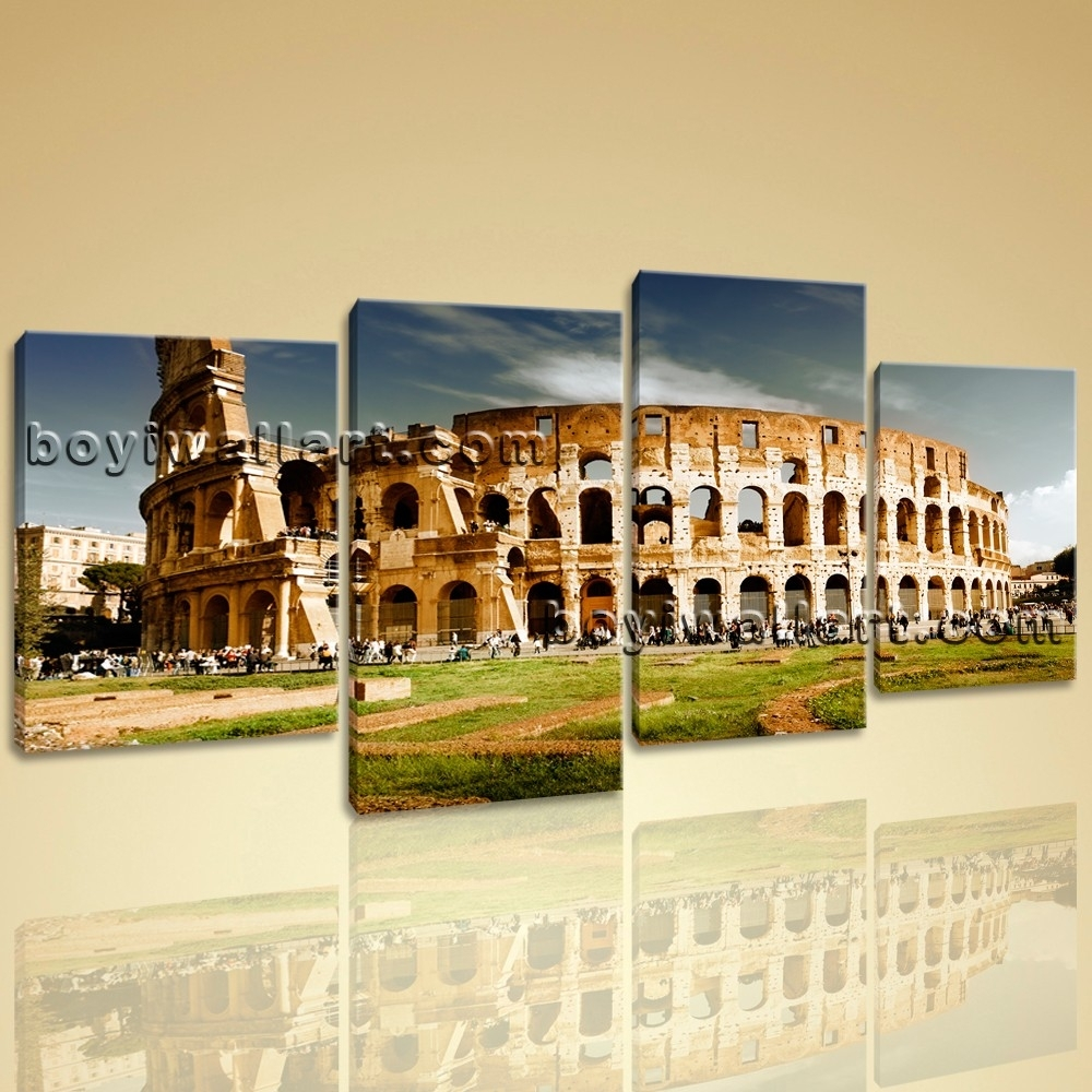 Colosseum Large Landscape Picture Canvas Wall Art Print World Within Recent Canvas Wall Art Of Rome (View 6 of 15)