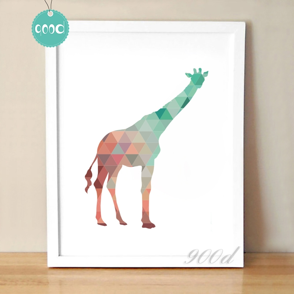 Colourful Geometric Giraffe Canvas Art Print Poster, Wall Pictures Throughout Most Recently Released Giraffe Canvas Wall Art (View 9 of 15)