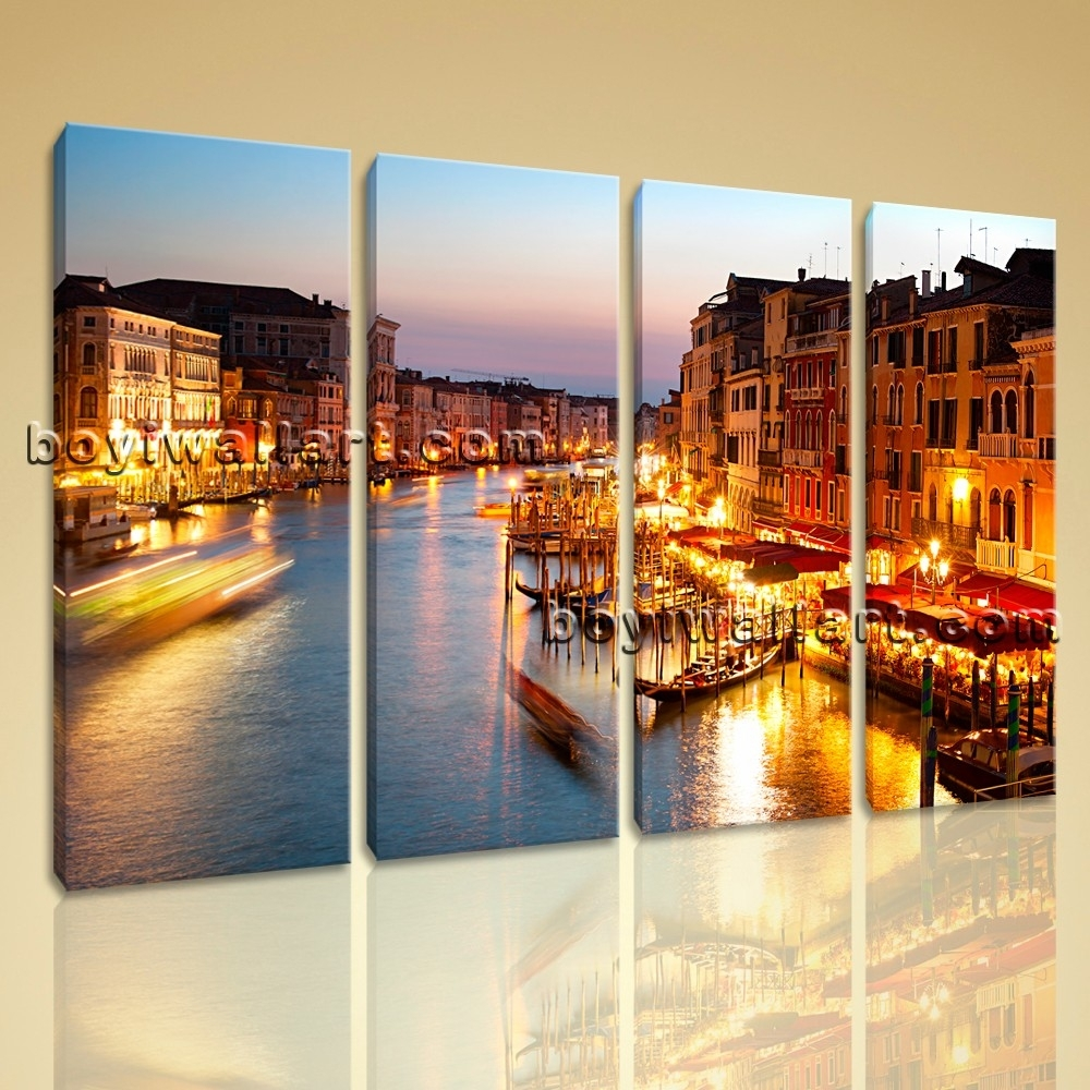 Contemporary Canvas Wall Art Print Painting Italy Venice Night Hd Inside Most Up To Date Canvas Wall Art Of Italy (View 8 of 15)