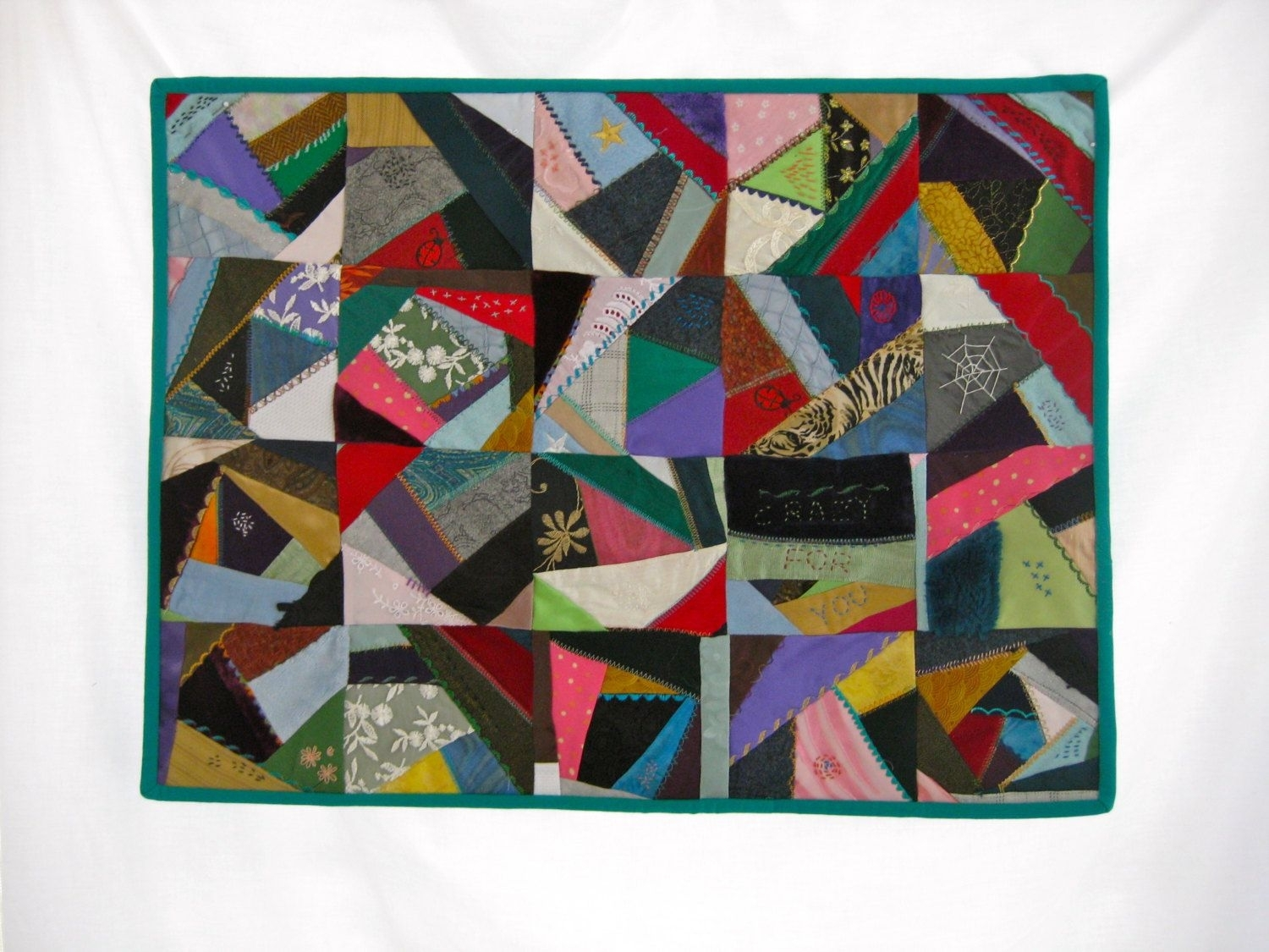 Contemporary Crazy Quilt, Fabric Wall Art, Art Quilt, Crazy For Intended For Most Recently Released Handmade Fabric Wall Art (View 2 of 15)