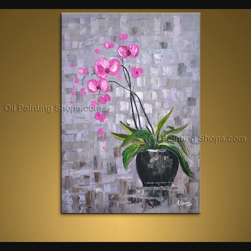 Contemporary Wall Art Floral Painting Orchid Flower Oil Canvas For 2018 Orchid Canvas Wall Art (View 5 of 15)